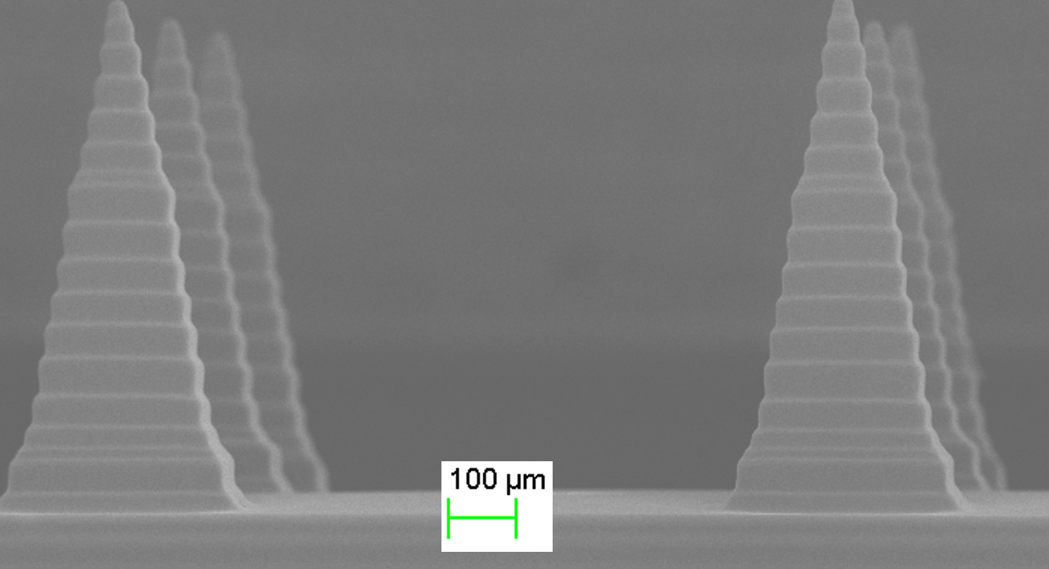 SEM pictures of the 3D-printed microneedles. The tip is 2um wide.