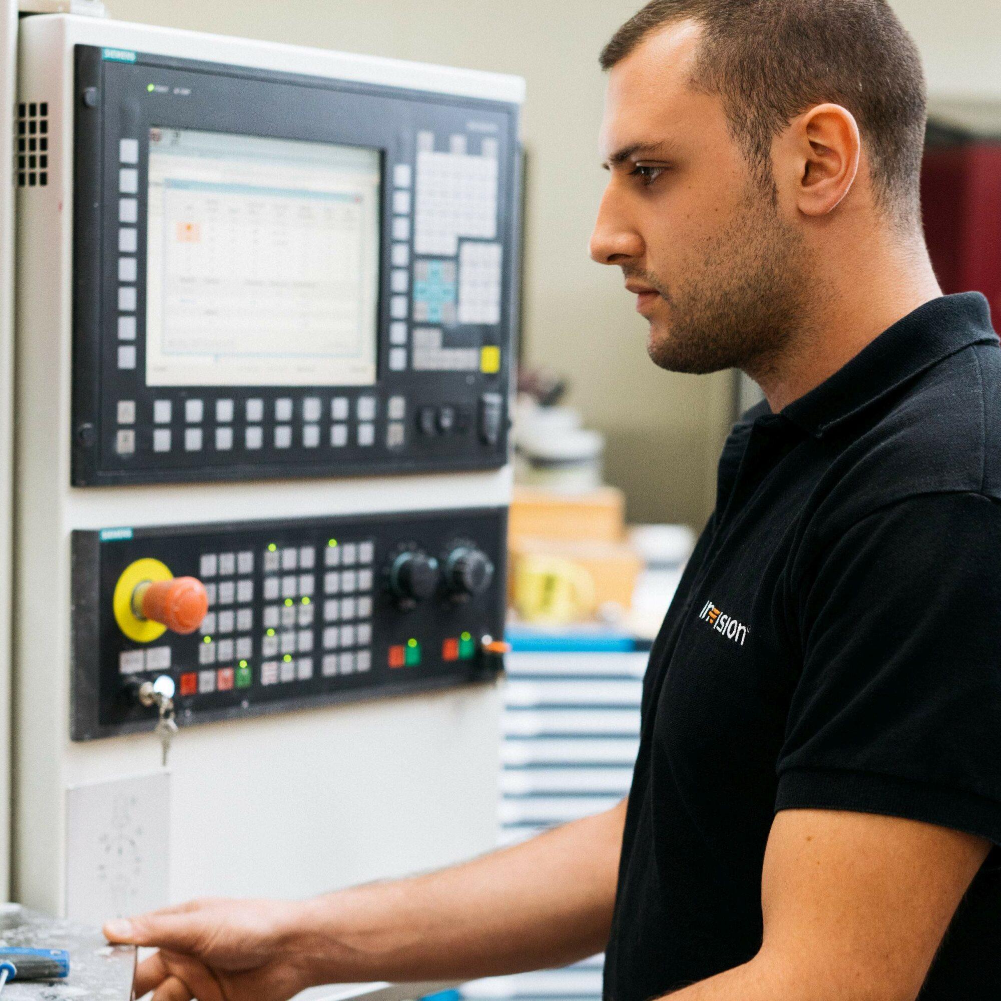employee working on a machine